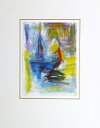 Watercolor Seascape - Abstract Ship - Matted-10104M