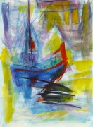 Watercolor Seascape - Abstract Ship - Main-10104M