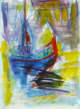 Watercolor Seascape - Abstract Ship - Main-10104M
