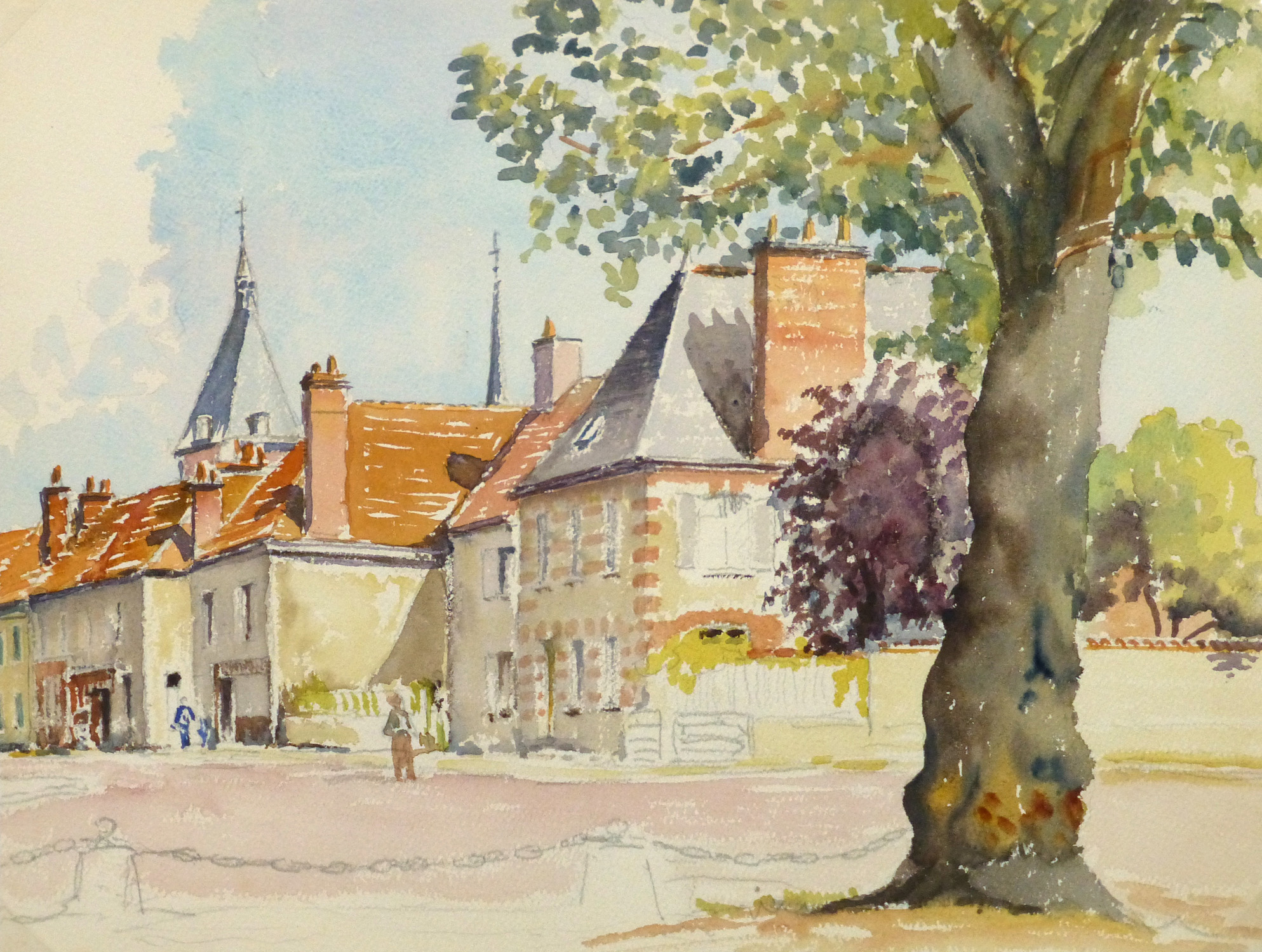Watercolor Landscape - French Country Village - main-10105M