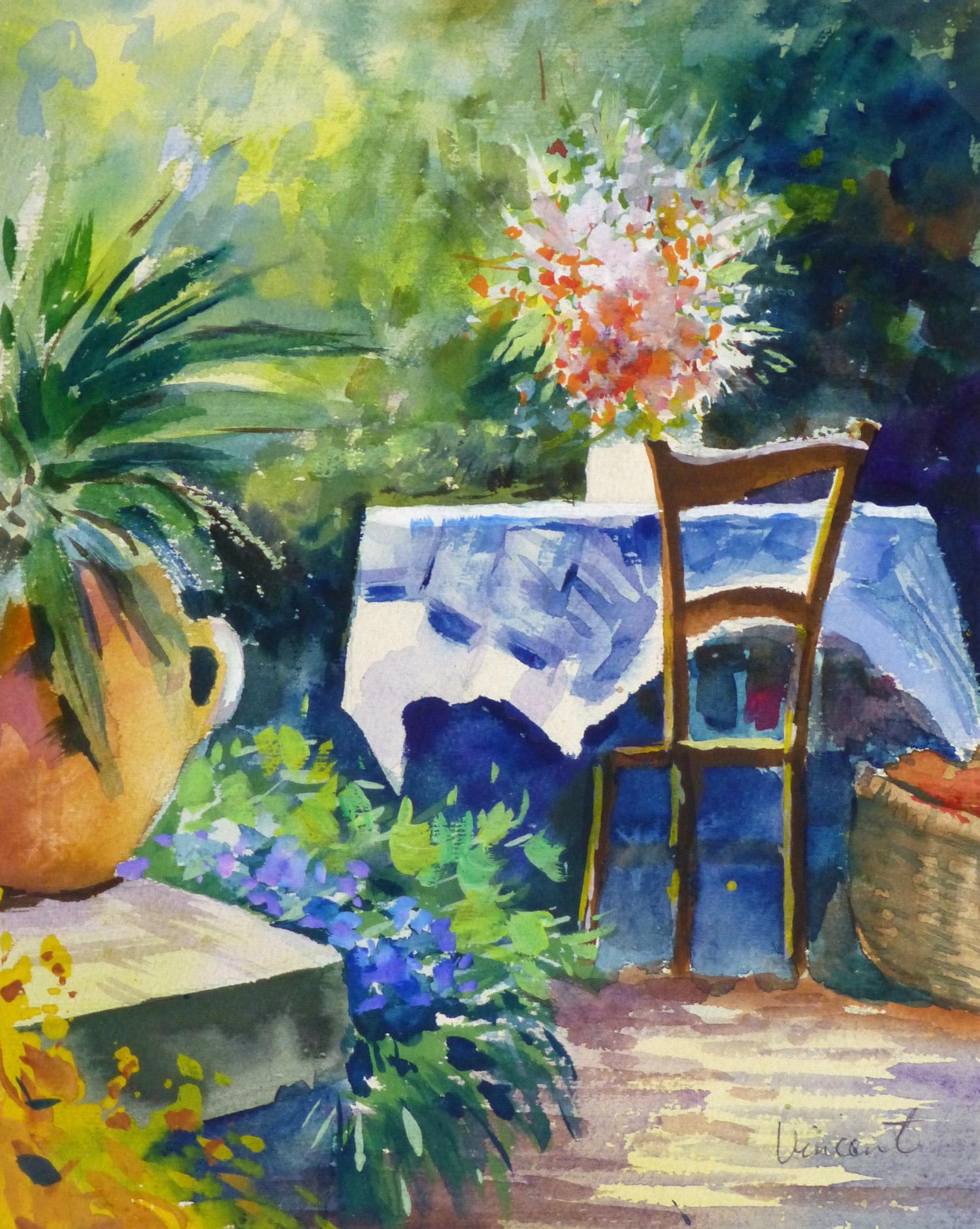 Watercolor Landscape - Garden Table-main-10107M