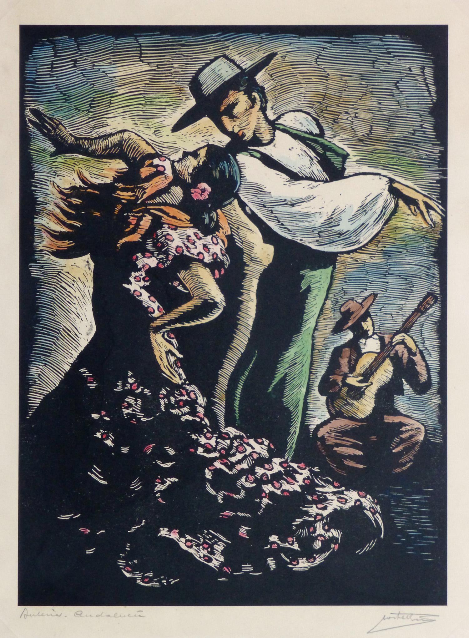 Woodcut - Flamenco Dancers-main-10108M