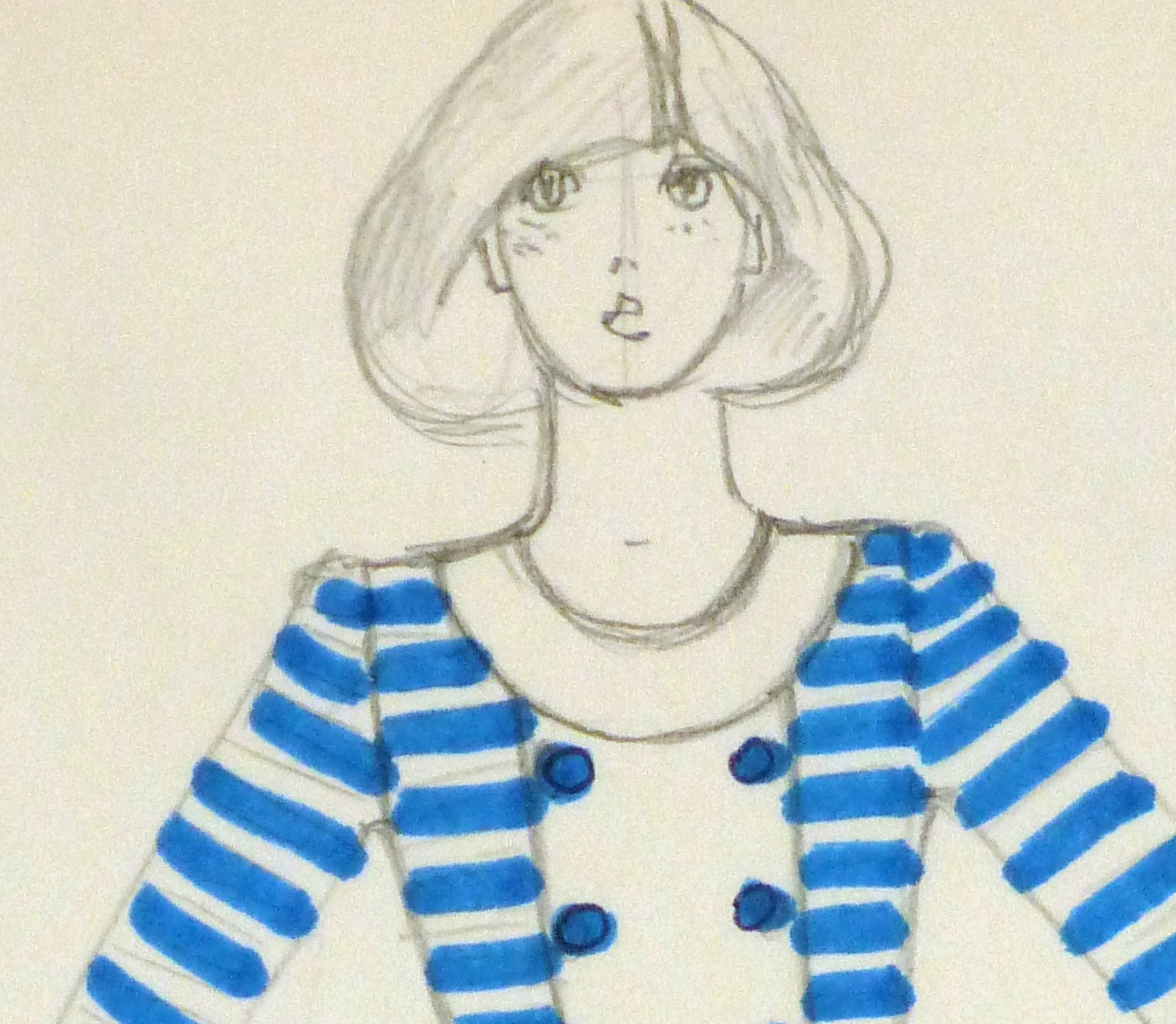 Ink & pencil Fashion Sketch - Blue Button - detail -10109M
