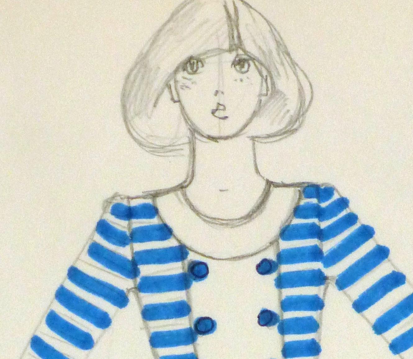 Ink & pencil Fashion Sketch - Blue Button - detail -10109M