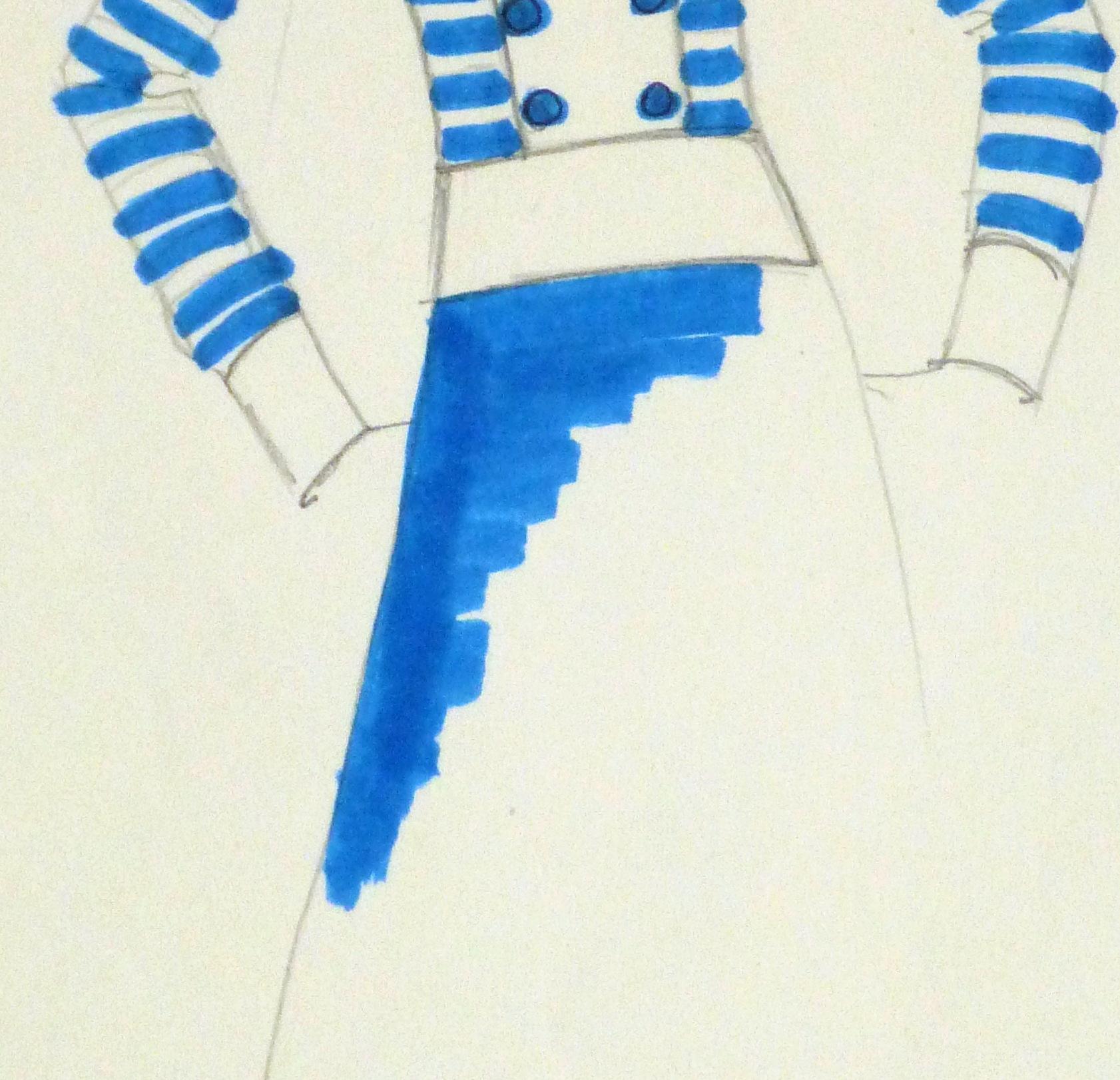 Ink & pencil Fashion Sketch - Blue Button - detail 2 -10109M