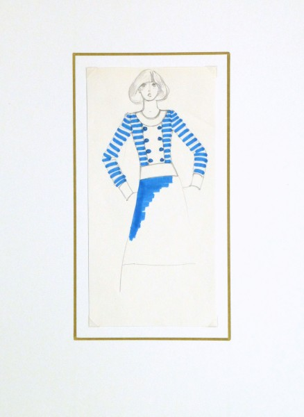 Ink & pencil Fashion Sketch - Blue Button - matted-10109M
