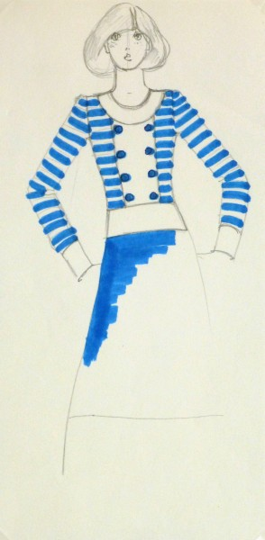 Ink & pencil Fashion Sketch - Blue Button To10109M