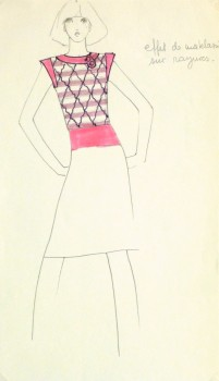 Ink & Pencil Fashion Sketch - Pink Top -10110M
