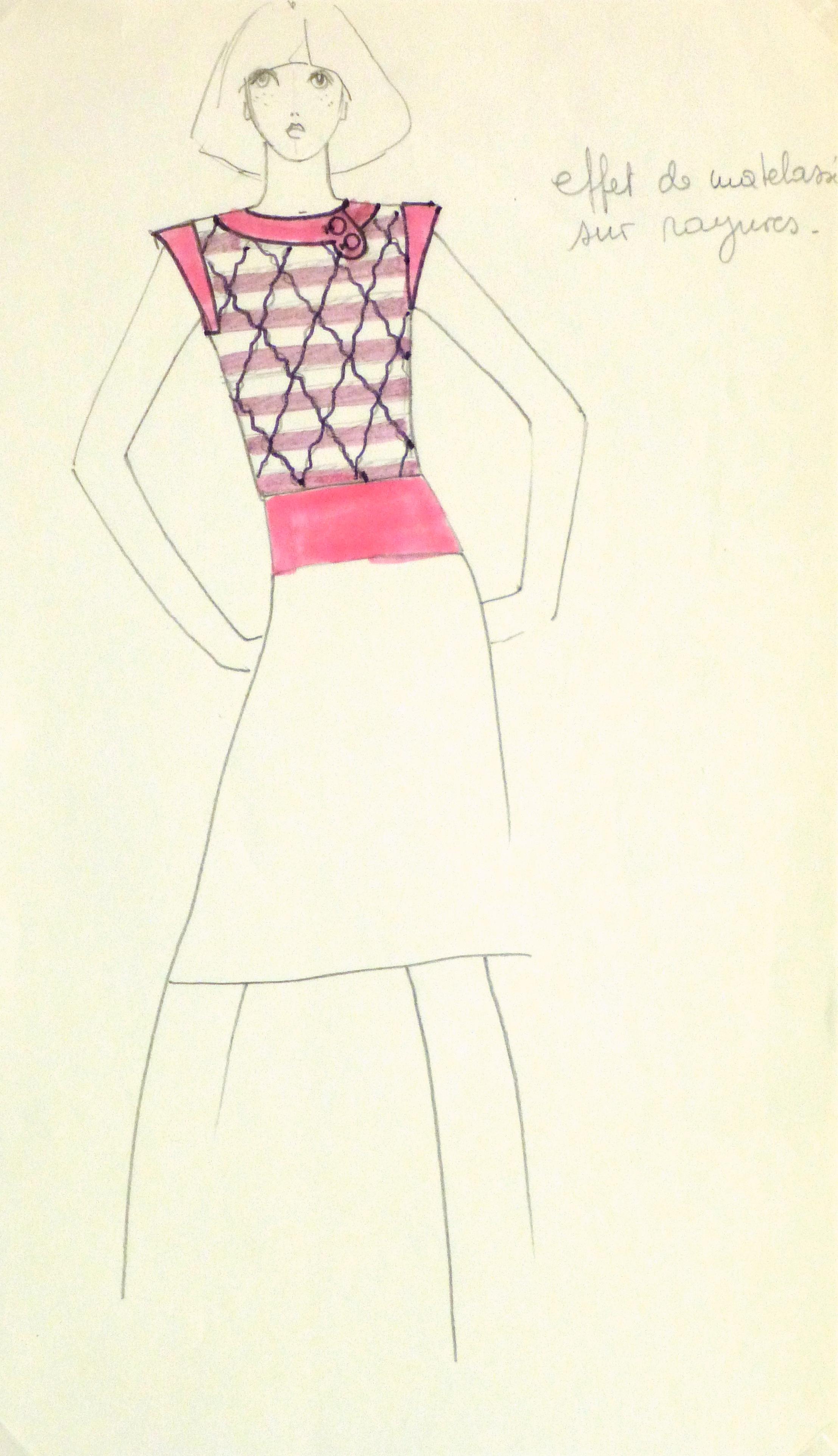 Ink & Pencil Fashion Sketch - Pink Top -10110M