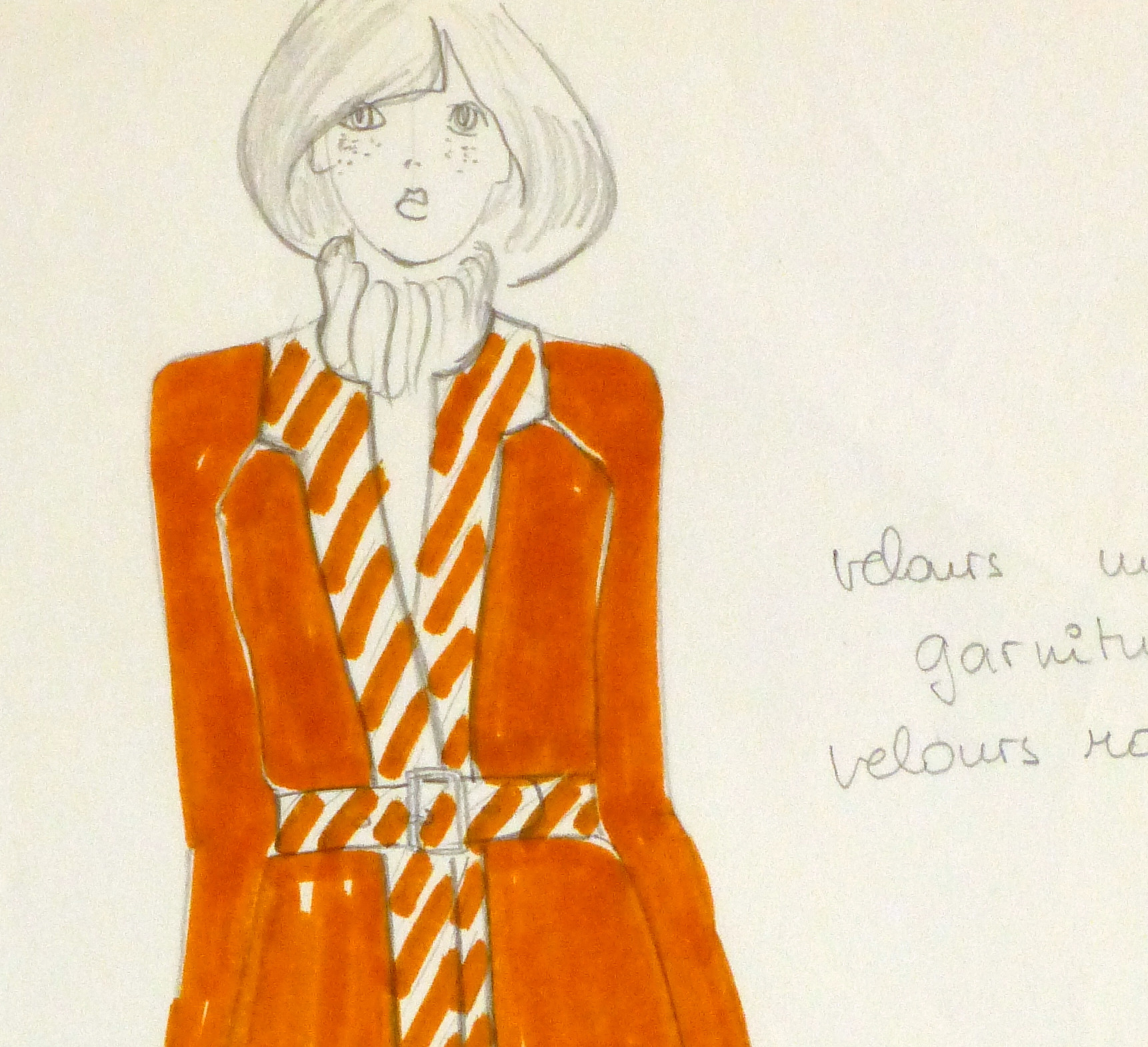 Ink & Pencil Fashion Sketch - Orange Coat - detail 2-10111M