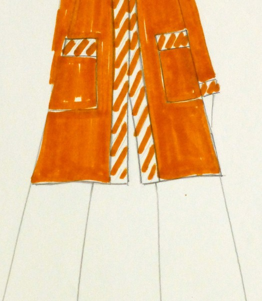 Ink & Pencil Fashion Sketch - Orange Coat - detail-10111M