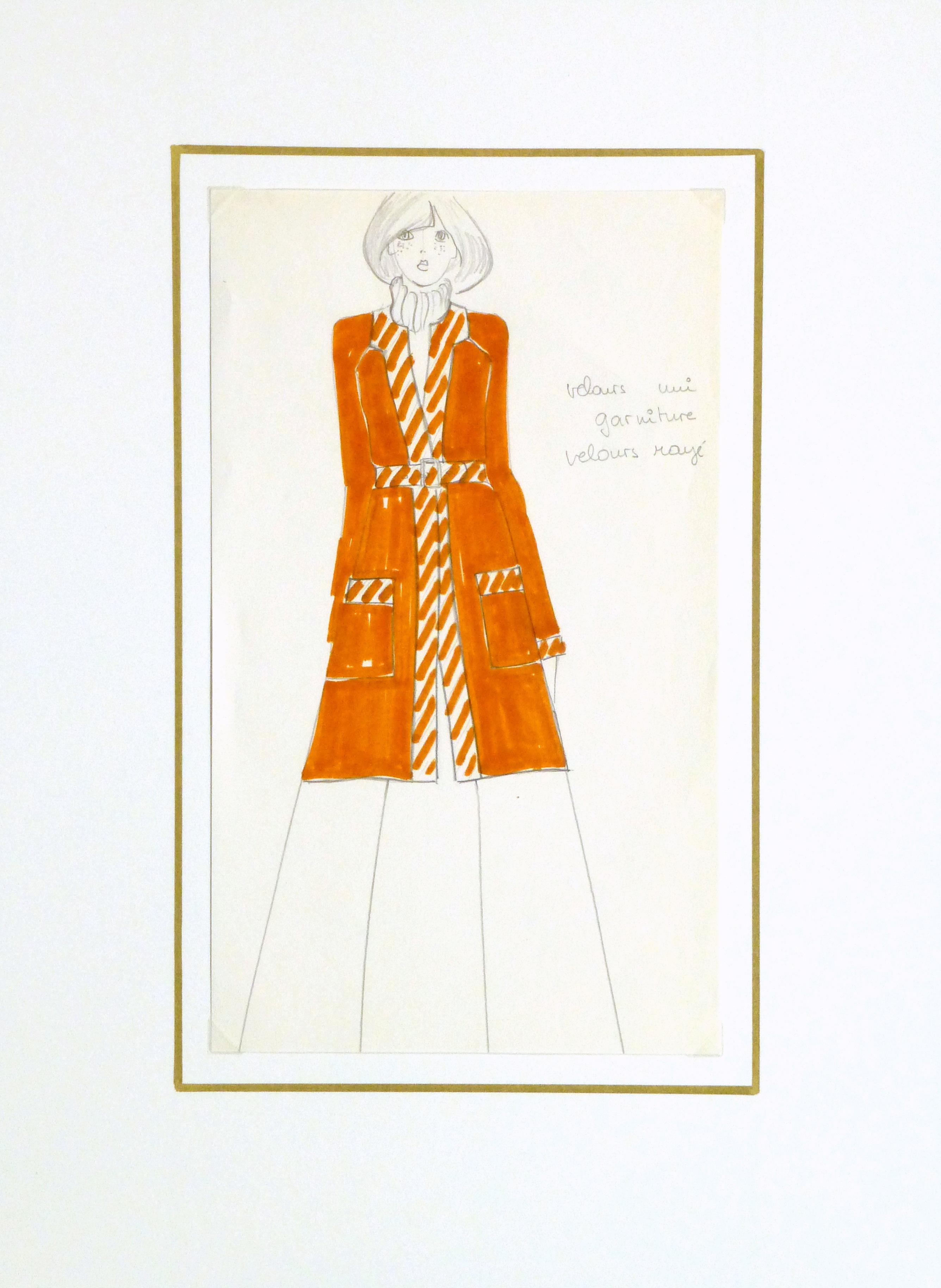 Ink & Pencil Fashion Sketch - Orange Coat - matted-10111M