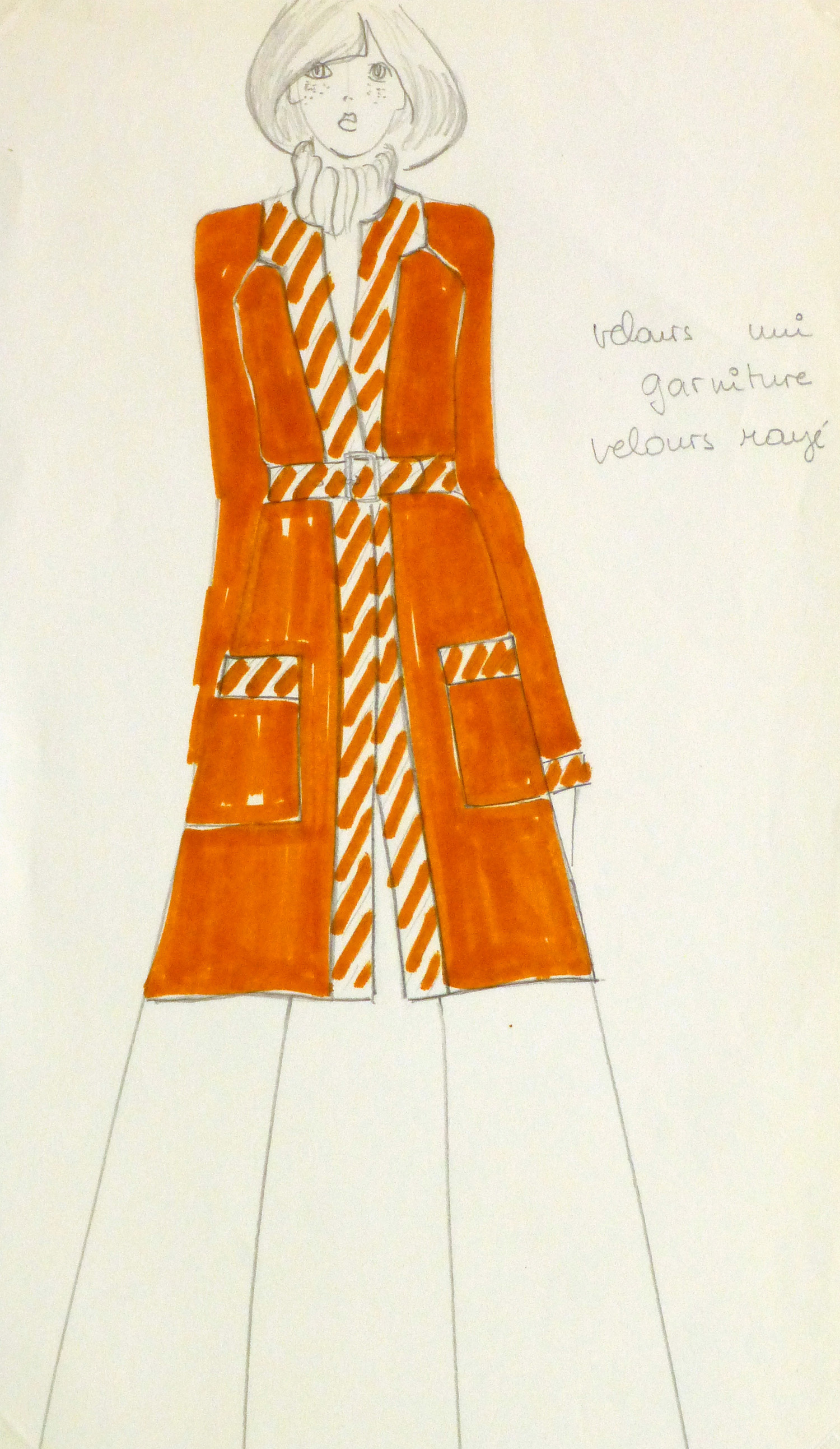 Ink & Pencil Fashion Sketch - Orange Coat - main-10111M