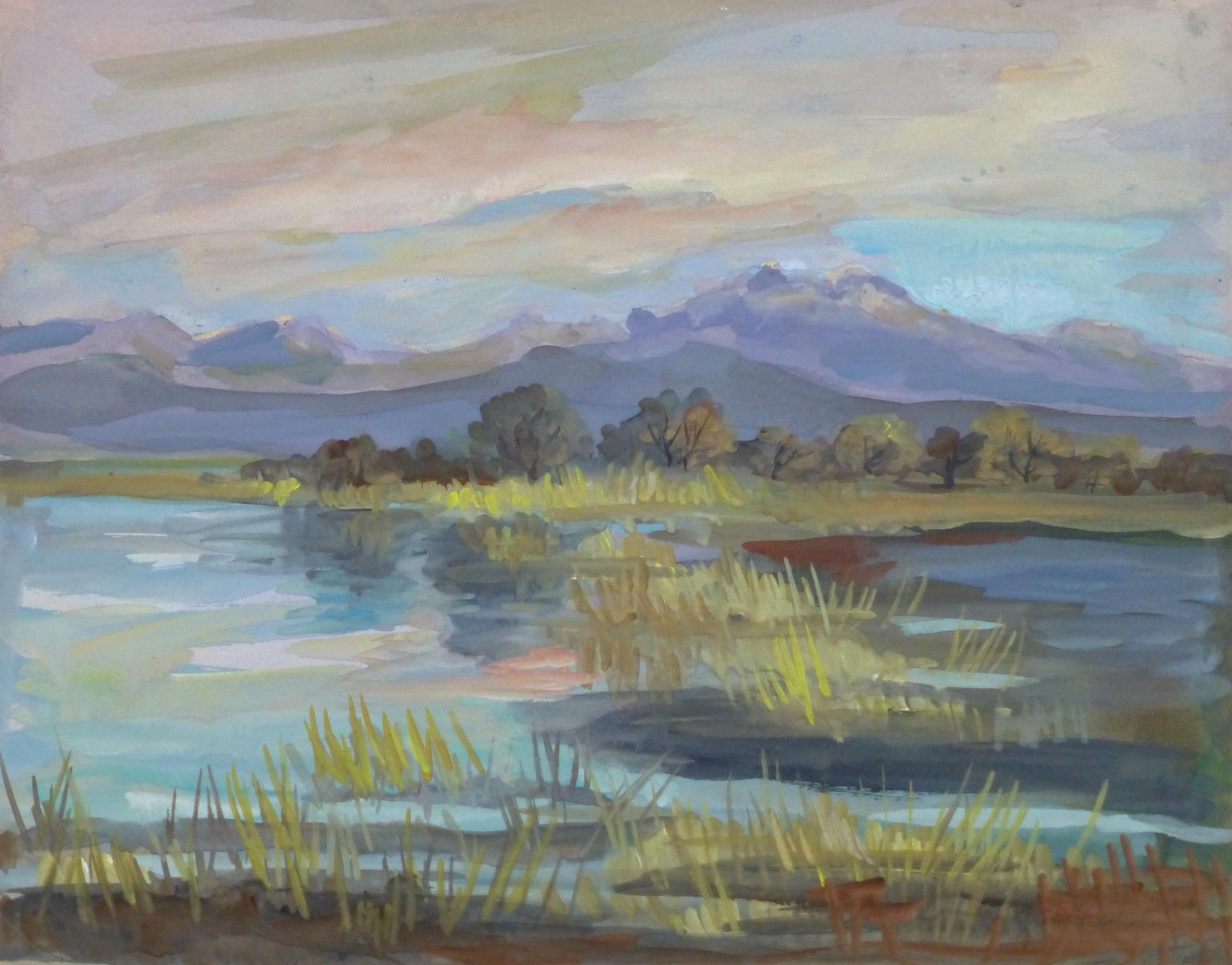 Gouache Landscape - Muted Moutains - main-10116M