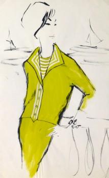 Acrylic Fashion Sketch - Yellow Dress Suit-main-10119M