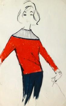 Acrylic Fashion Sketch - Red Sweater-main-10120M