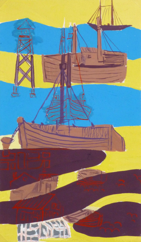 Abstract Gouache - Shipyard-main-10121M