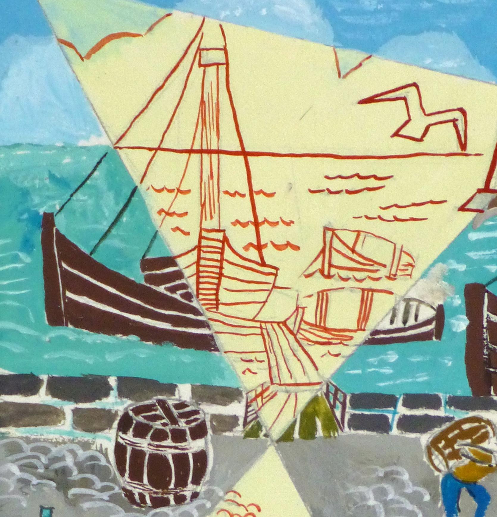 Abstract Gouache - Docks- detail 2 -10122M