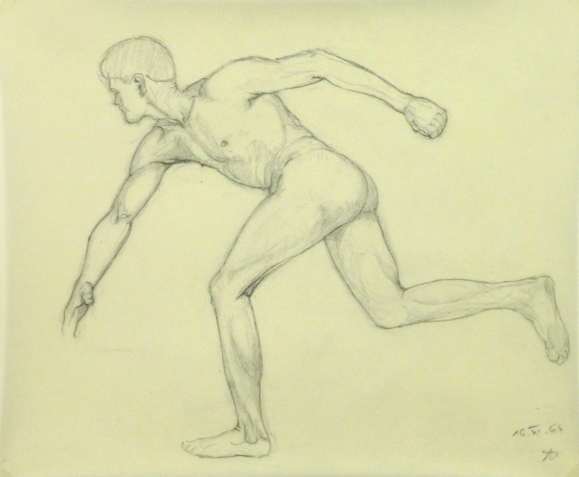 Drawing - Nude Male Athlete - Main- 9956M