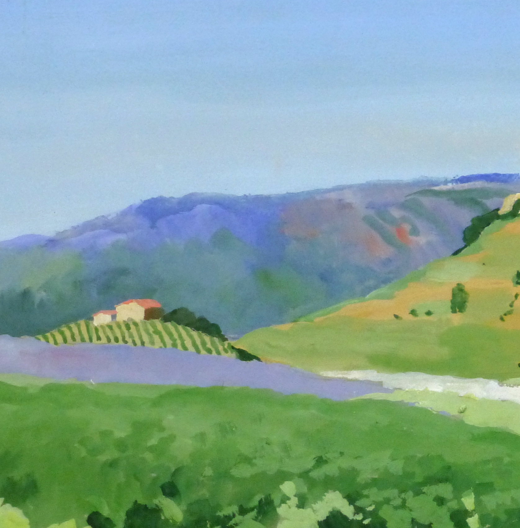 Acrylic Landscape - French Vineyards - Detail 2- 9960M