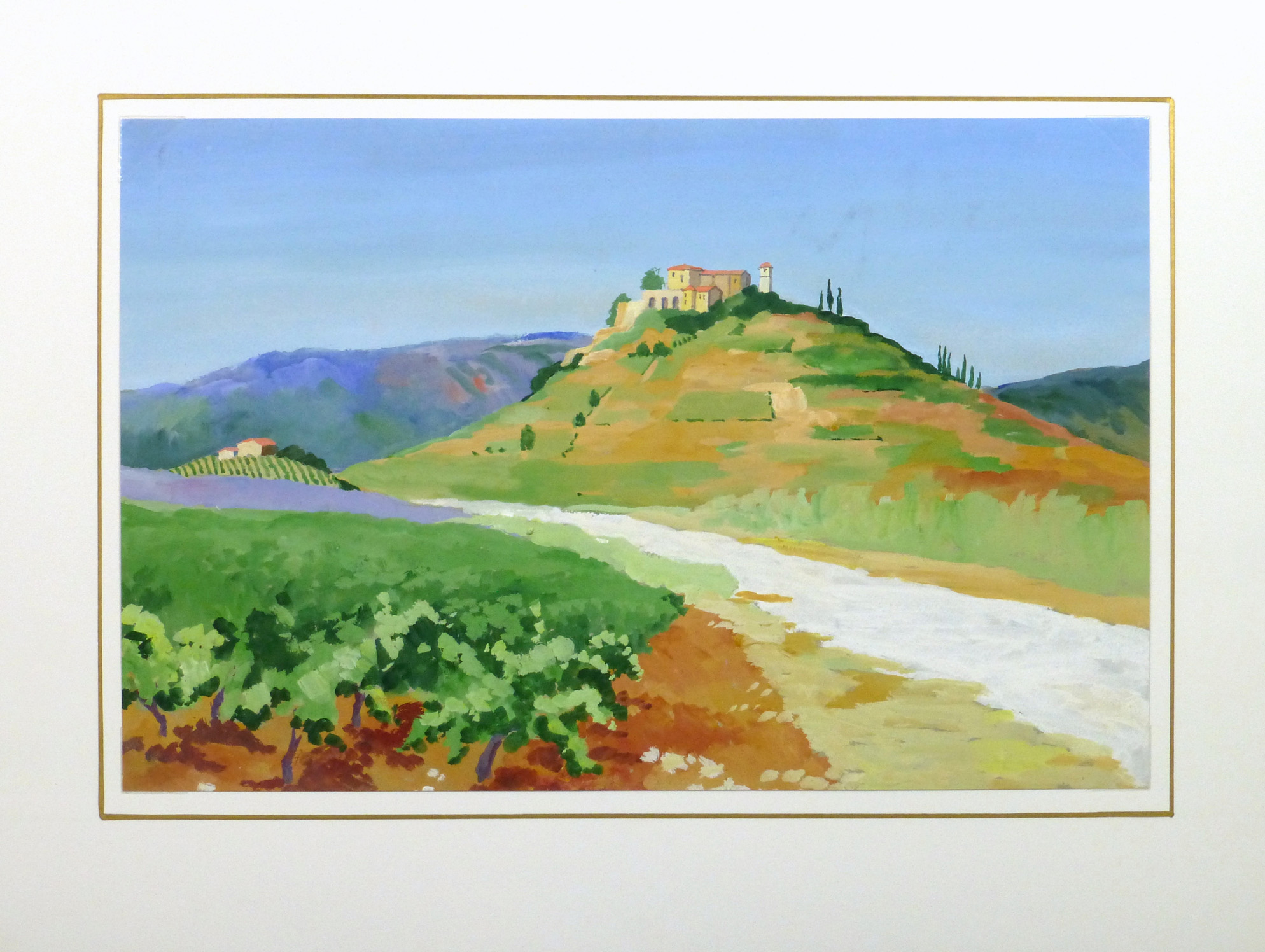 Acrylic Landscape - French Vineyards - Matted- 9960M