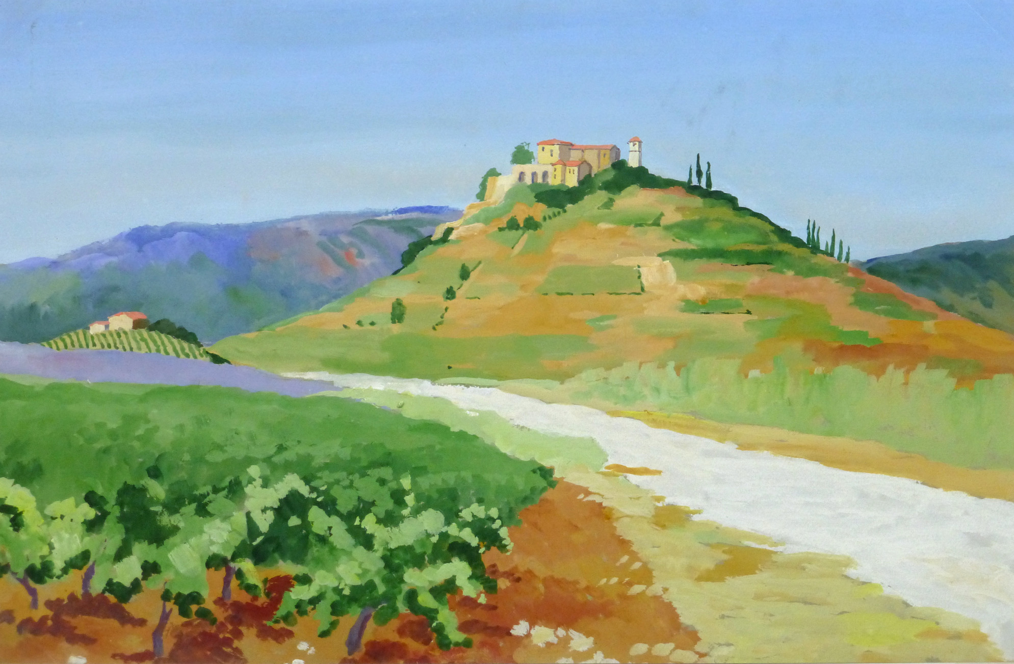 Acrylic Landscape - French Vineyards - Main- 9960M