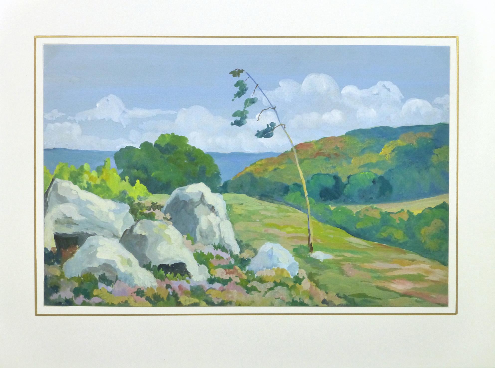 Acrylic Landscape - Coastal Overlook - Matted- 9962M