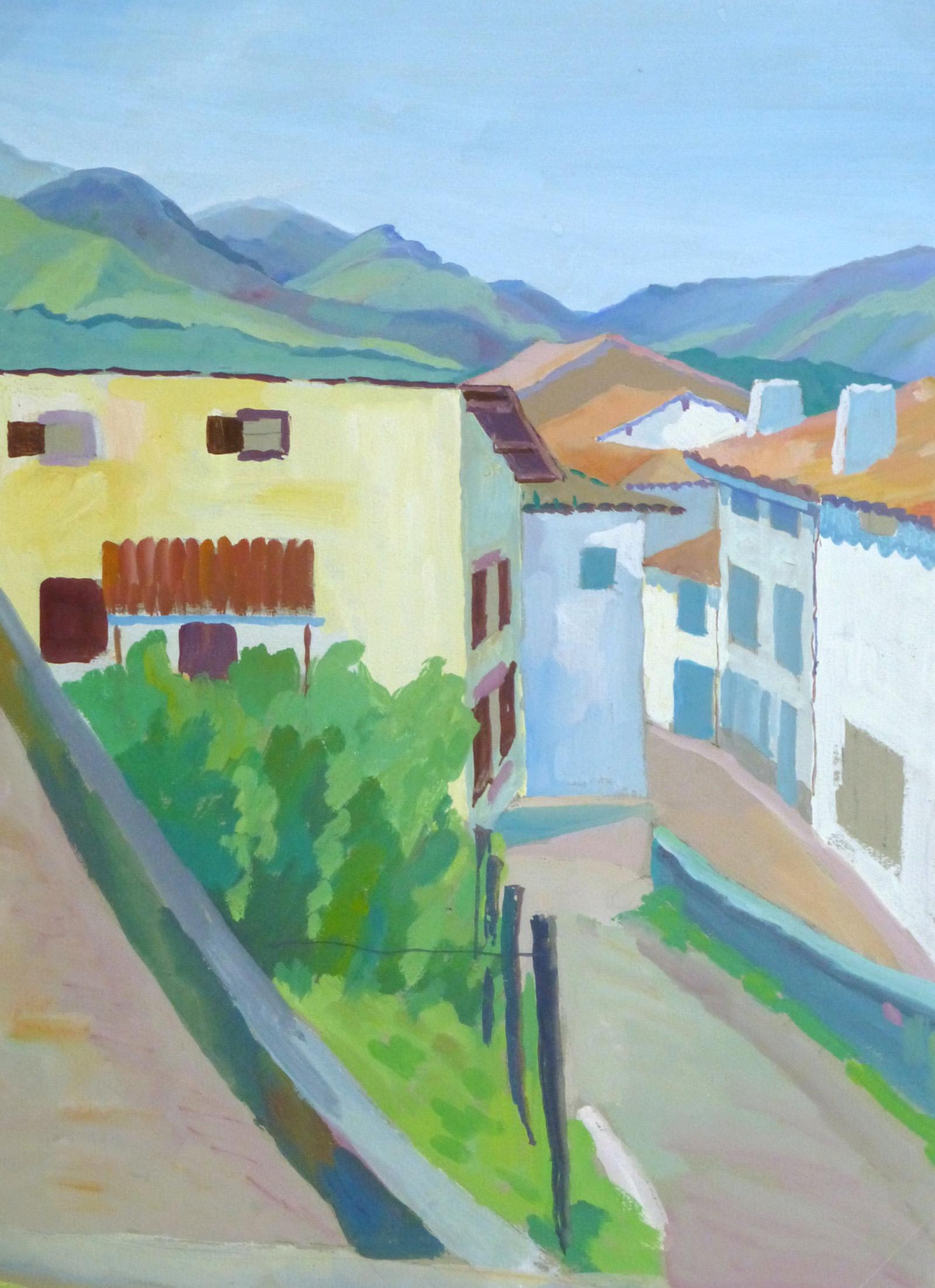 Acrylic Landscape - French Hillside Village - Main - 9963M