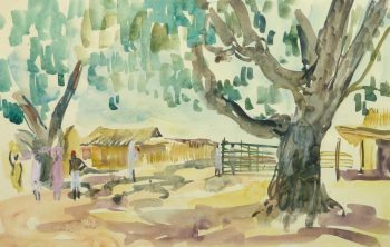 Watercolor Landscape - Village Farm - Main-9966M