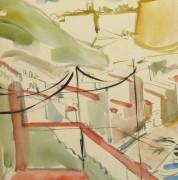 Watercolor Landscape - Island Port - Detail 2 -9967M