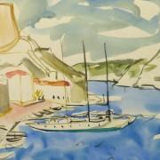 Watercolor Landscape - Island Port - Detail 1 -9967M