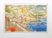 Watercolor Landscape - Island Port - Matted-9967M