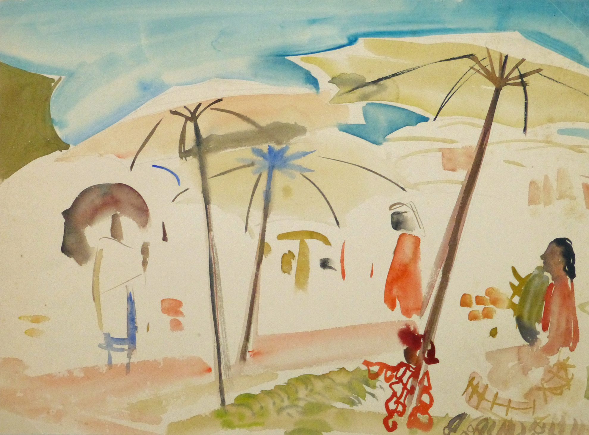 Watercolor Landscape - Village Market - Main- 9968M