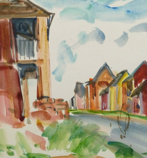 Watercolor Landscape - Island Village - Detail 2 -9970M