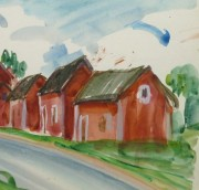 Watercolor Landscape - Island Village - Detail 1 -9970M