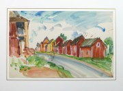 Watercolor Landscape - Island Village - Matted -9970M
