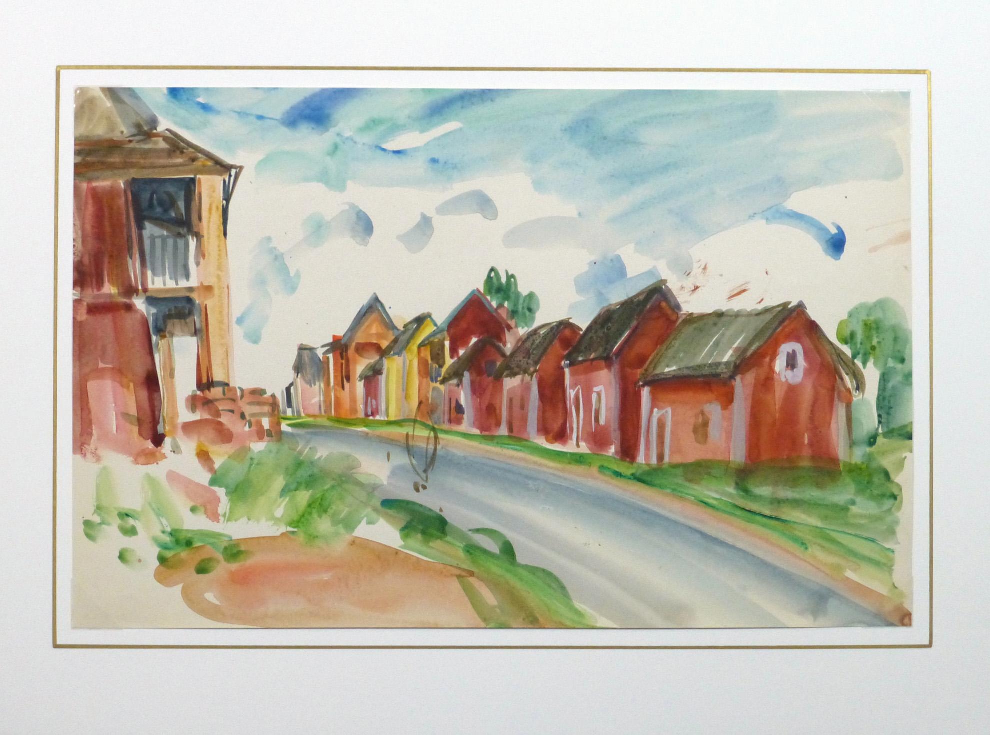 Watercolor Landscape - Island Village - Matted -9970M