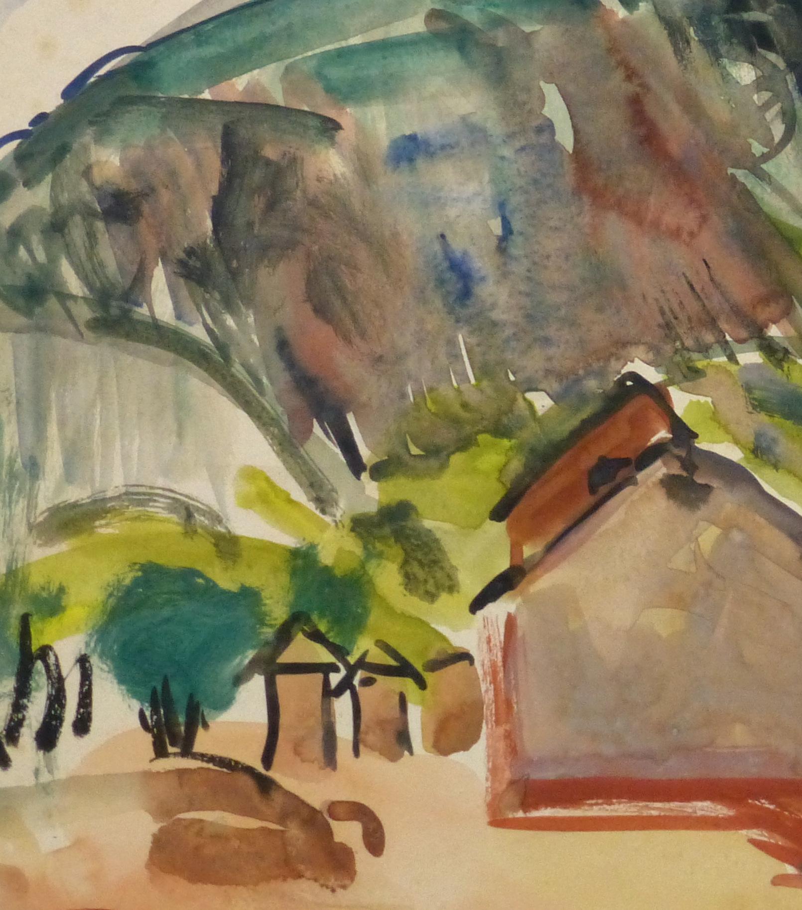 Watercolor Landscape - Tropic Mountainside - Detail 2-9970M