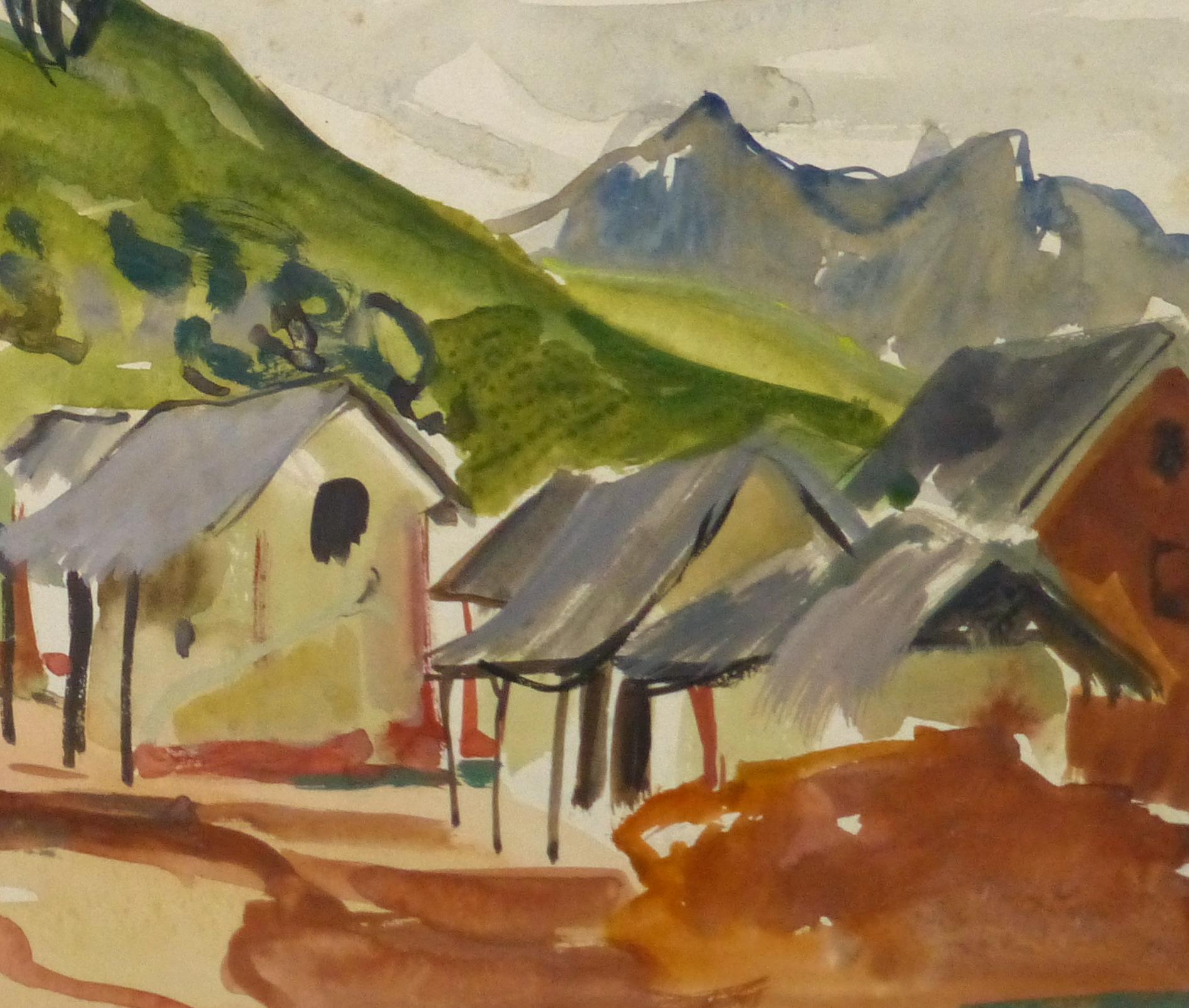 Watercolor Landscape - Tropic Mountainside - Detail 1-9970M