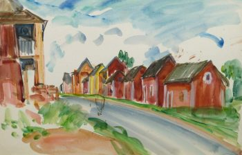 Watercolor Landscape - Island Village - Main -9970M