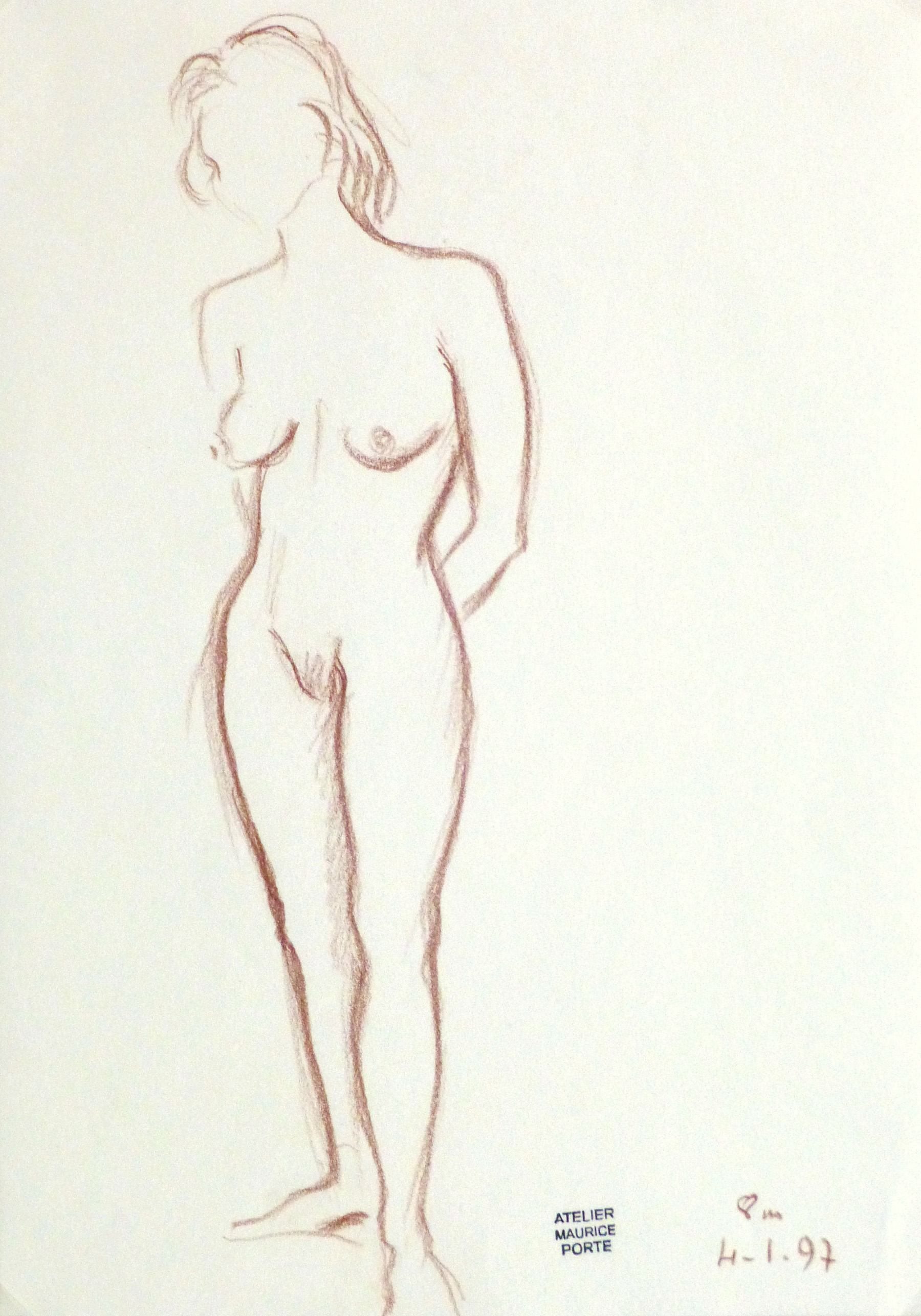 Charcoal Drawing - Standing Female Nud-main-10152M