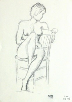 Charcoal Drawing - Seated Female Nude-main-10154M