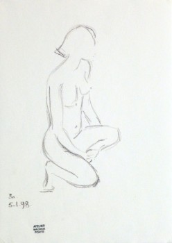 Charcoal Sketch - Kneeling Female Nude-main-10155M