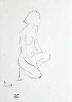 Charcoal Sketch - Kneeling Female Nude-main-10155M