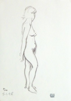 Charcoal Drawing - Nude Female in Profile-main-10156M
