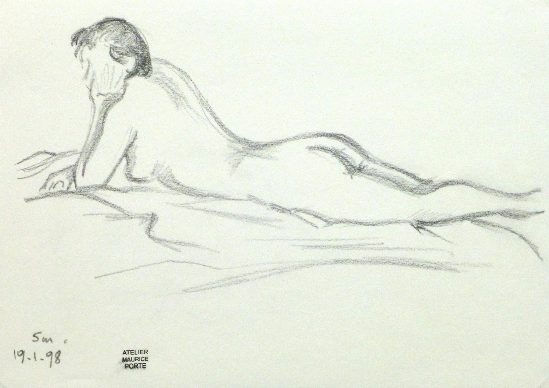 Charcoal Drawing - Relaxed Female Nude-main-10157M