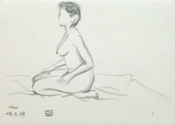 Charcoal Drawing - Kneeling Female Nude II-main-10158M