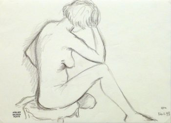Charcoal Drawing - Pensive Nude Female-main-10159M
