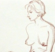 Charcoal Drawing - Sitting Female Nude-detail 2-10160M
