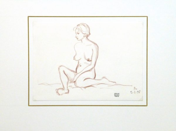 Charcoal Drawing - Sitting Female Nude-matted-10160M